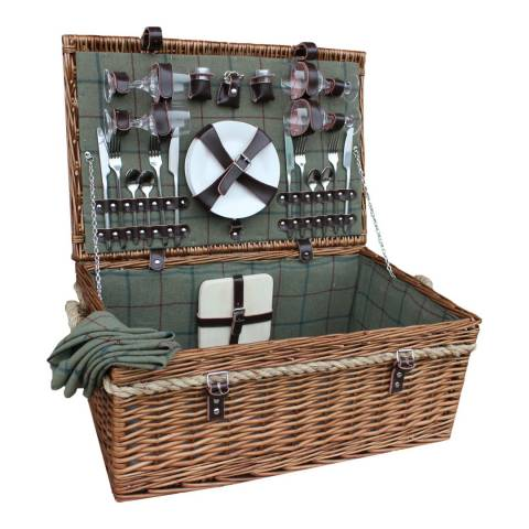 Perfect Picnic 4 Person Deluxe Rope Handled Green Tweed Hamper