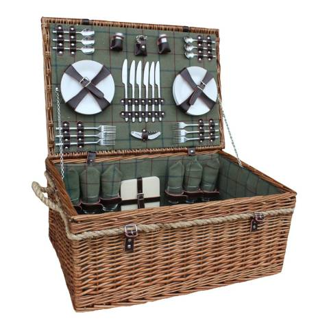 Perfect Picnic 6 Person Deluxe Rope Handled Green Tweed Hamper