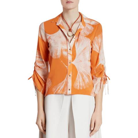 Halston Heritage Terracotta Printed Silk Chiffon Draped Top