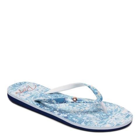 Roxy Light Blue Print Portofino Flip Flops