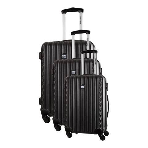 Bagstone Black Sweety Set Of Three 4 Wheeled Suitcases  S/M/L