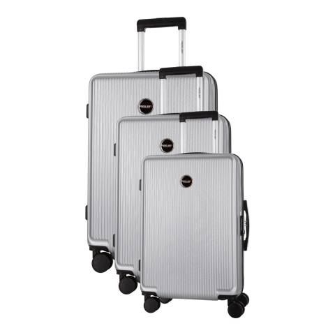 Travel One Silver Armada Set of Three 8 Wheeled Suitcases 50/60/70 cm