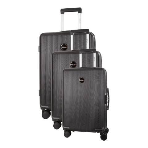 Travel One Black Armada Set of Three 8 Wheeled Suitcases 50/60/70 cm