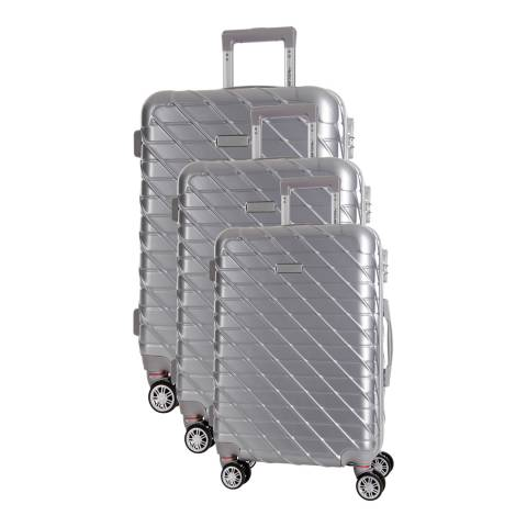 Travel One Silver Leiria Set of Three 8 Wheeled Suitcases 46/56/66 cm