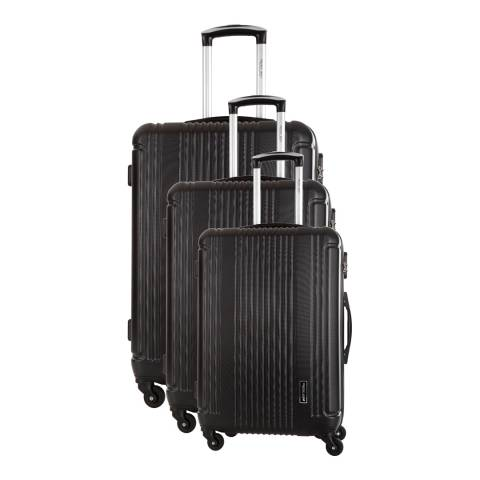 Travel One Black Leiria Set of Three 8 Wheeled Suitcases 46/56/66 cm