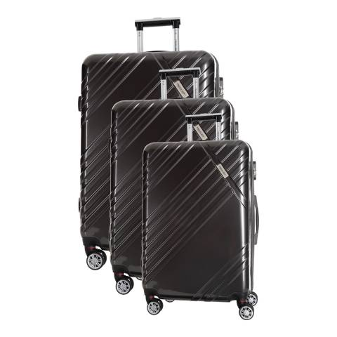 Travel One Black Rosciano Set of Three 8 Wheeled Suitcases 66 cm