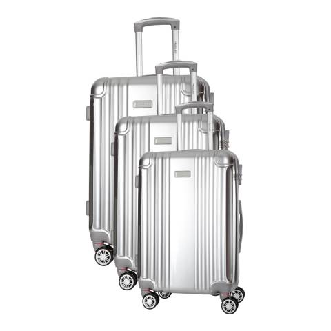 Travel One Silver Comilla Set Of Three 8 Wheeled Suitcases 46/56/66 cm