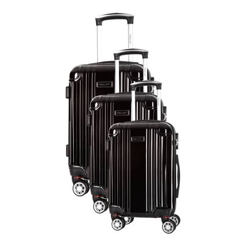 Travel One Black Comilla Set Of Three 8 Wheeled Suitcases 46/56/66 cm