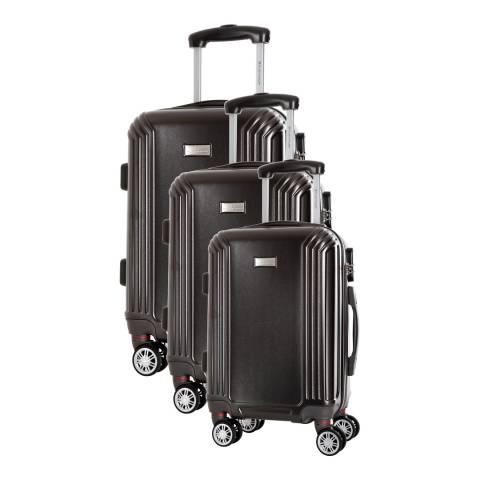 Platinium Grey Kirwee Set Of Three 8 Wheeled Suitcases 46/56/66 cm