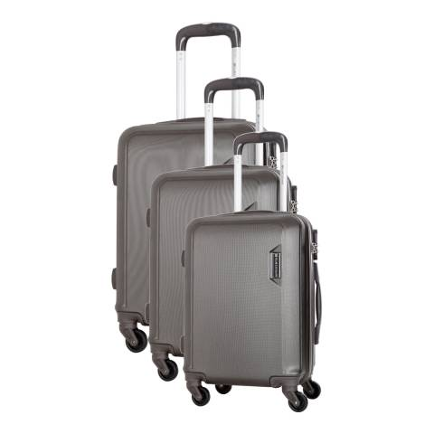 Platinium Grey Buccia Set Of Three 4 Wheeled Suitcases 46/56/66 cm