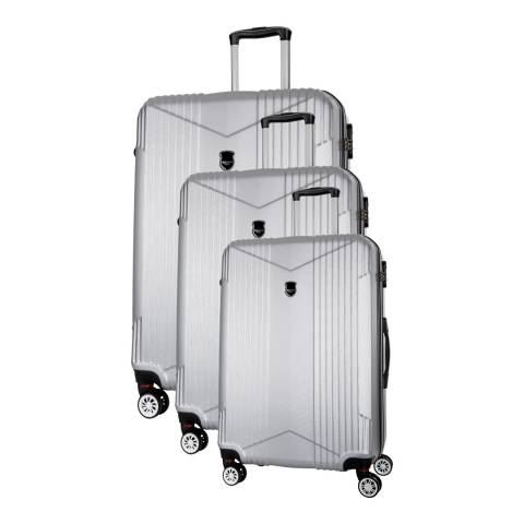 Renoma Silver Scheving Set Of Three 8 Wheeled Suitcases 50/60/70 cm