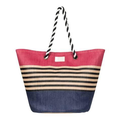 Roxy Pink/Blue Sunseeker Straw Beach Bag