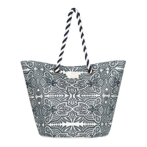 Roxy Black/White Sunseeker Straw Beach Bag