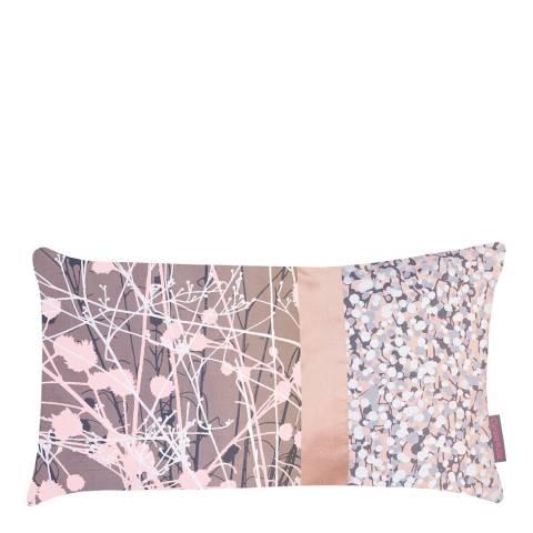 Clarissa Hulse Oyster/Storm Mystras Patchwork Silk Cushion, 30x50cm