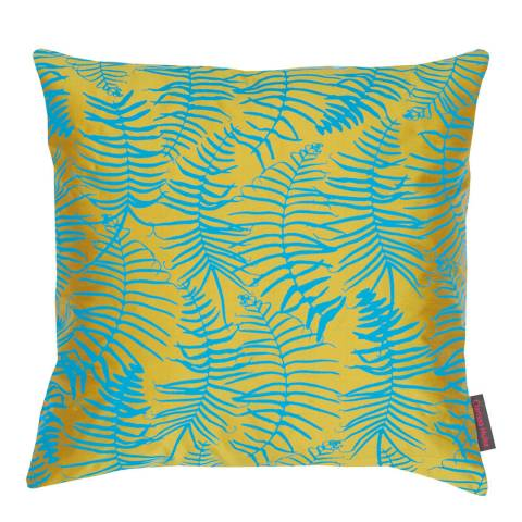 Clarissa Hulse Turmeric/Kingfisher Feather Fern Silk Cushion, 45x45cm