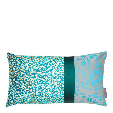 Clarissa Hulse Kingfisher/Storm Garland Patchwork Silk Cushion, 30x50cm