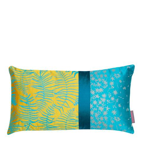 Clarissa Hulse Turmeric/Kingfisher Feather Fern Patchwork Silk Cushion, 30x50cm