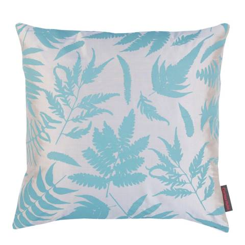Clarissa Hulse Putty/Ocean Scattered Fern Silk Cushion, 45x45cm