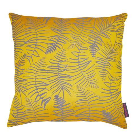 Clarissa Hulse Turmeric/Storm Feather Fern Silk Cushion, 45x45cm