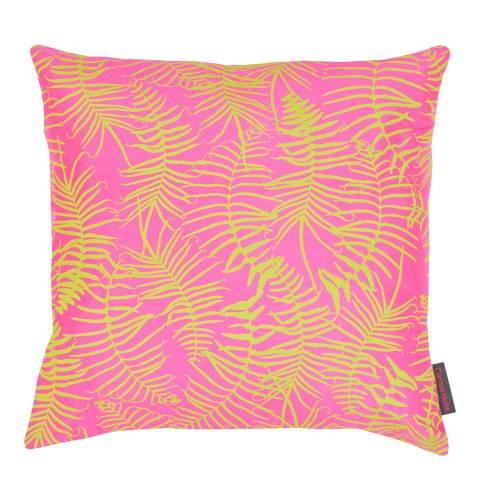 Clarissa Hulse Neon/Chartreuse Feather Fern Silk Cushion, 45x45cm