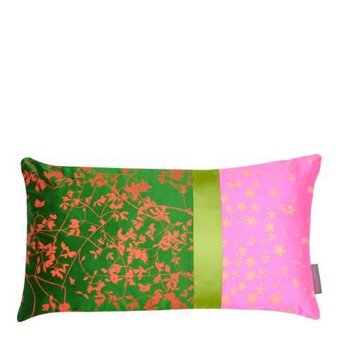 Clarissa Hulse Moss/Neon Tiny Vine Patchwork Silk Cushion, 30x50cm
