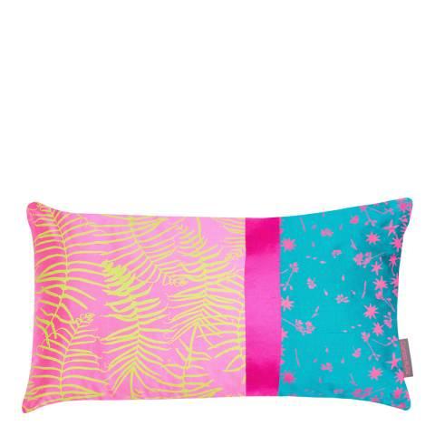 Clarissa Hulse Neon/Kingfisher Feather Fern Patchwork Silk Cushion, 30x50cm