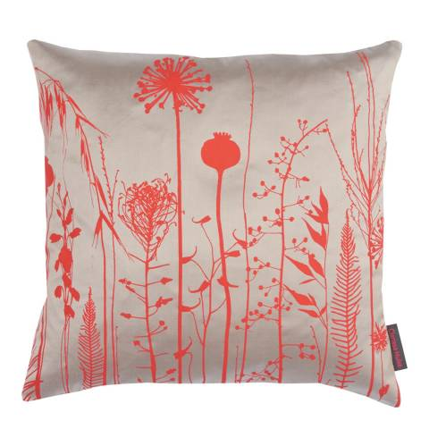 Clarissa Hulse Pebble/Vermilion Seed Silk Cushion, 45x45cm