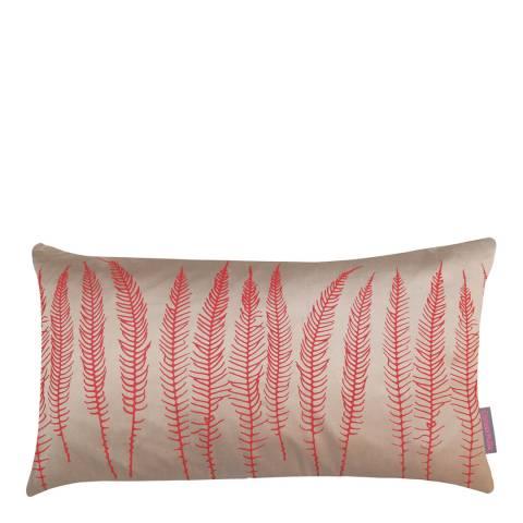 Clarissa Hulse Pebble/Vermilion Deer Fern Silk Cushion, 30x50cm