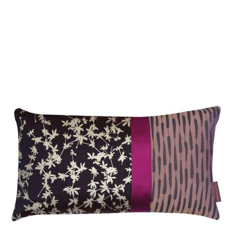 Clarissa Hulse Grape/Orchid Potentilla Patchwork Silk Cushion, 30x50cm