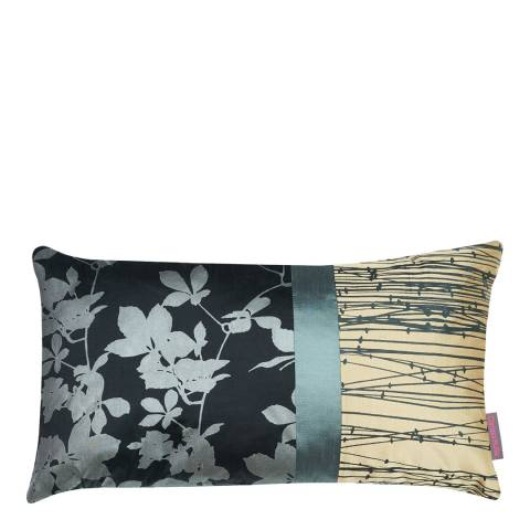 Clarissa Hulse Black/Hopsack Virginia Creeper Patchwork Silk Cushion, 30x50cm
