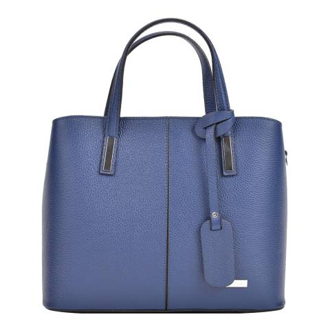 Sofia Cardoni Blue Leather Tote Bag