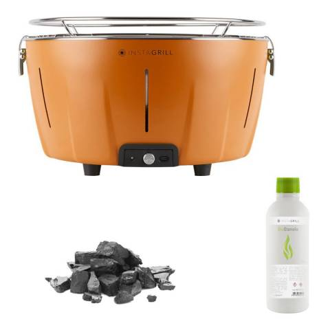 Instagrill Instant Smokeless Table Barbecue Set with Bag, Charcoal, Bio Ethanol and PowerBank, Orange