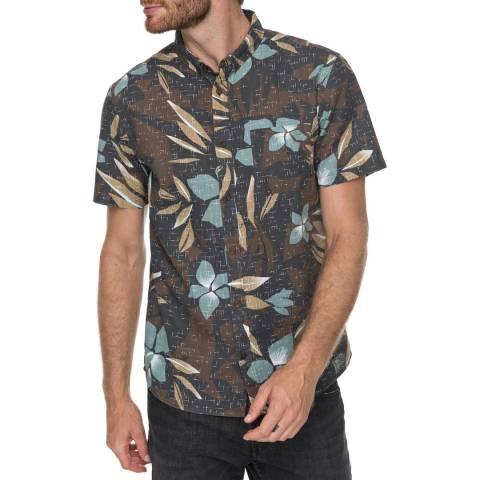 Quiksilver Chocolate Linen Print Shirt