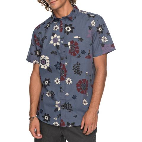 Quiksilver Indigo Cotton Sunset Florals Shirt