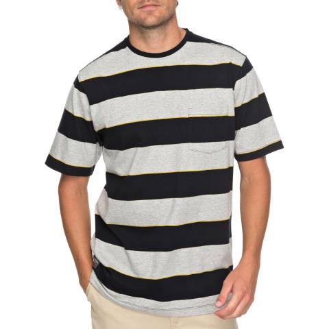 Quiksilver Black/White Stripe Cotton Tall Mountain T-Shirt