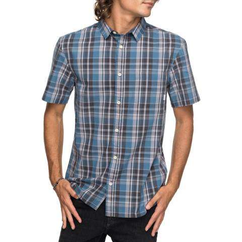 Quiksilver Navy Everday Check Short Sleeve Shirt