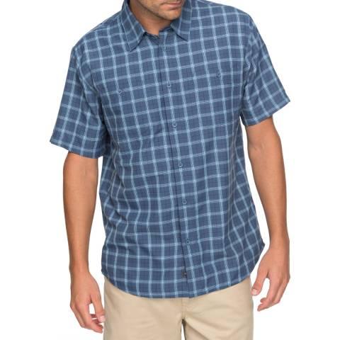 Quiksilver Blue Waterman Wake Plaid Technical Short Sleeve Shirt