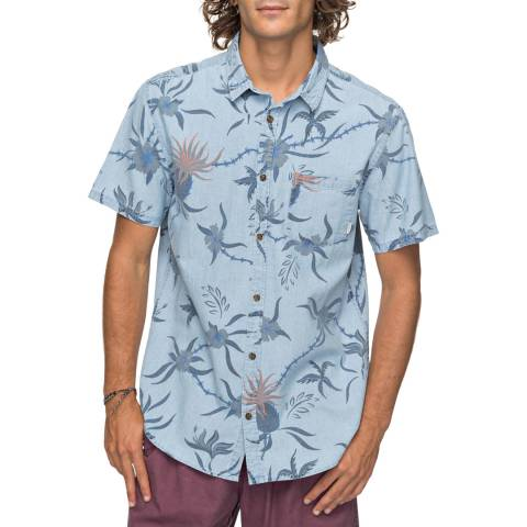 Quiksilver Used Blue Cotton Shakka Mate Shirt
