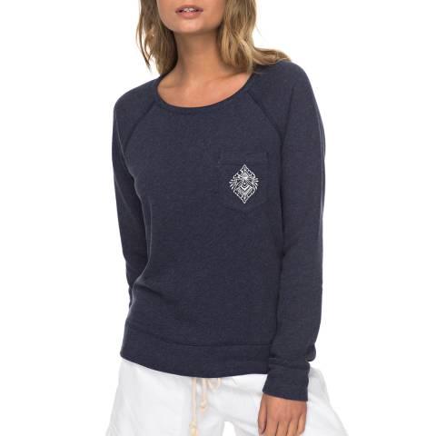 Roxy Navy Crew Neck Sweatshirt