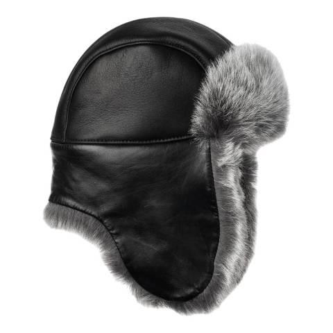 UGG Women's Black Leather Toscana Long Pile Trapper