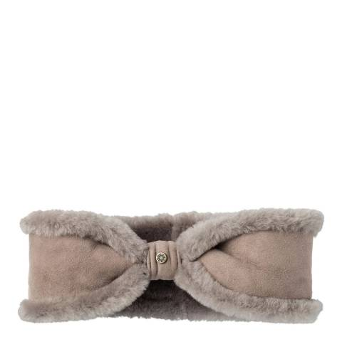 UGG Women's Stormy Grey Sheepskin Bow Headband