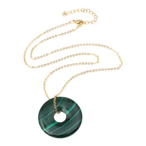 Liv Oliver Gold Malachite Pendant Necklace