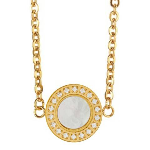 White label by Liv Oliver Gold Mother of Pearl/Zirconia Necklace