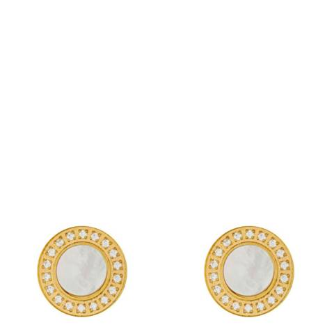 White label by Liv Oliver Gold Mother of Pearl/Zirconia Stud Earrings