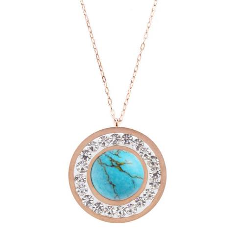 Alexa by Liv Oliver Rose Gold Turquoise and Crystal Necklace
