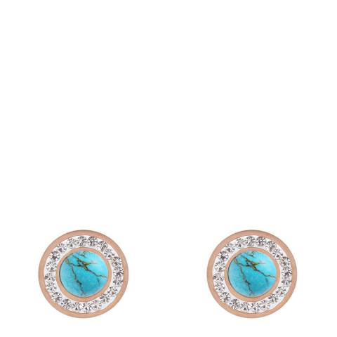 Alexa by Liv Oliver Rose Gold/Turquoise Halo Stud Earrings