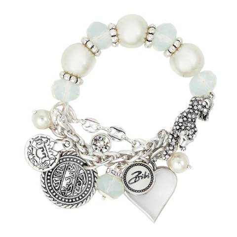 BiBi Bijoux White/Silver Charm Beaded Bracelet