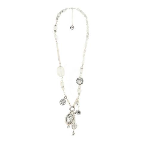 BiBi Bijoux White/Silver Crystal Necklace