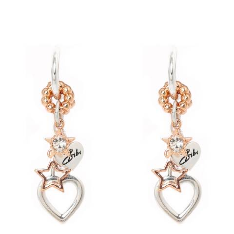 BiBi Bijoux Silver/Rose Gold Swarovski Elements Drop Earrings