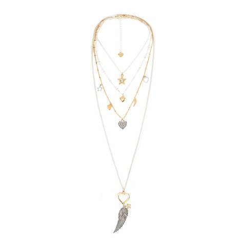 BiBi Bijoux Silver/Gold Charm Layered Necklace